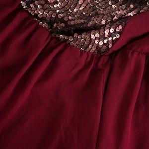 torrid Dresses - Torrid Strapless Burgundy Chiffon Sequin Dress 2